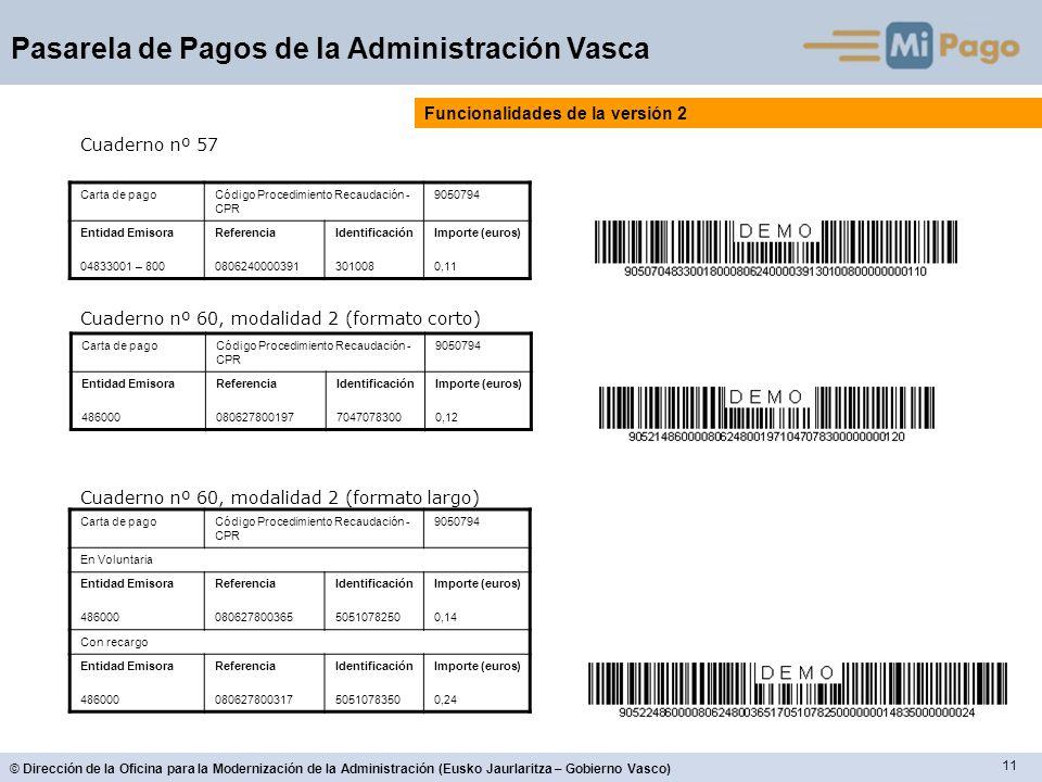 11 © Dirección de la Oficina para la Modernización de la Administración (Eusko Jaurlaritza – Gobierno Vasco) Pasarela de Pagos de la Administración Va