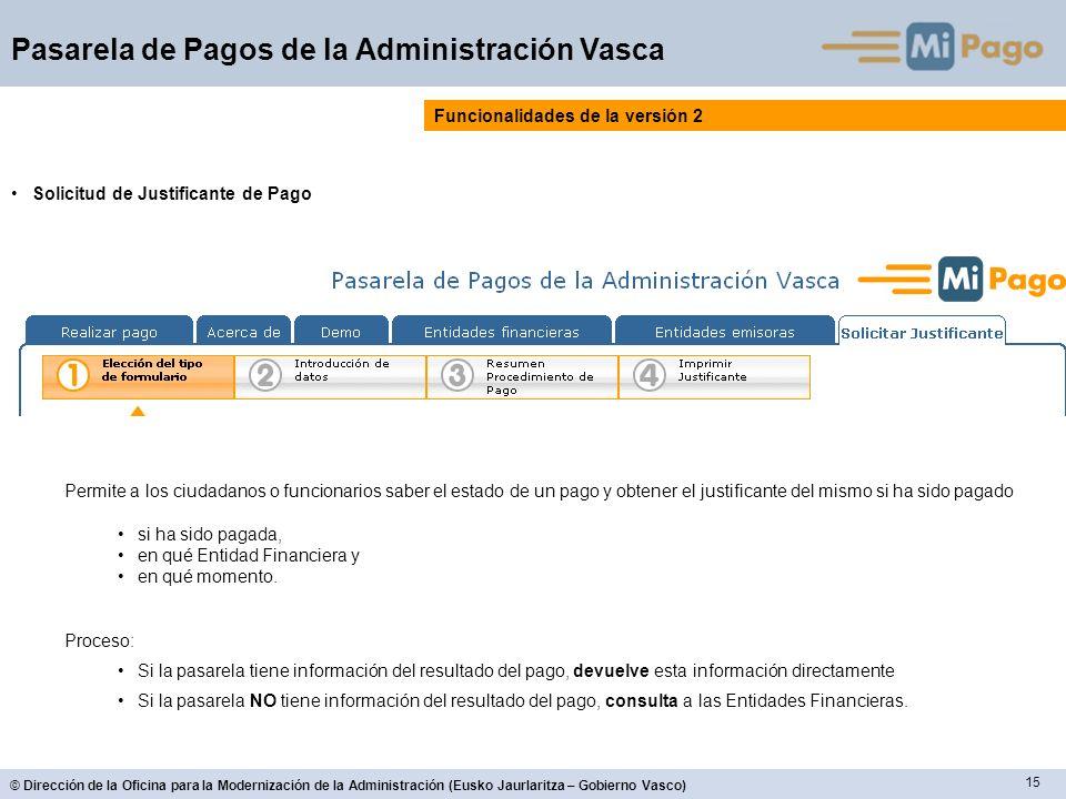 15 © Dirección de la Oficina para la Modernización de la Administración (Eusko Jaurlaritza – Gobierno Vasco) Pasarela de Pagos de la Administración Va