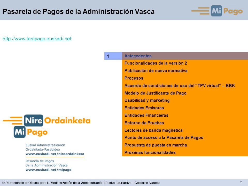 2 Pasarela de Pagos de la Administración Vasca Antecedentes Funcionalidades de la versión 2 Publicación de nueva normativa Procesos Acuerdo de condici