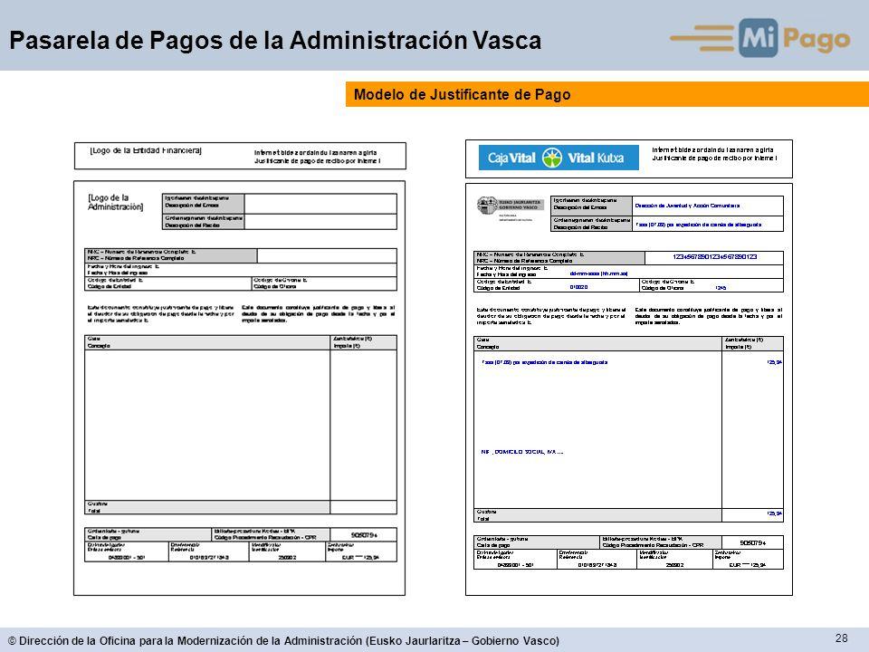 28 © Dirección de la Oficina para la Modernización de la Administración (Eusko Jaurlaritza – Gobierno Vasco) Pasarela de Pagos de la Administración Va