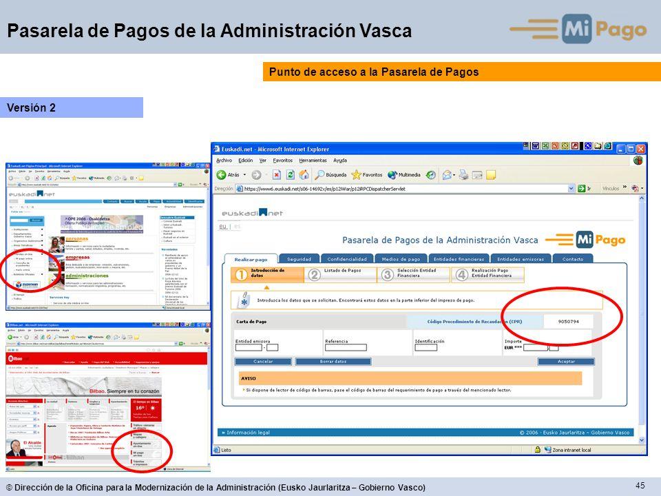 45 © Dirección de la Oficina para la Modernización de la Administración (Eusko Jaurlaritza – Gobierno Vasco) Pasarela de Pagos de la Administración Va