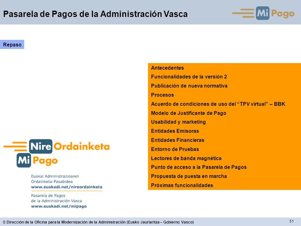 51 © Dirección de la Oficina para la Modernización de la Administración (Eusko Jaurlaritza – Gobierno Vasco) Pasarela de Pagos de la Administración Va
