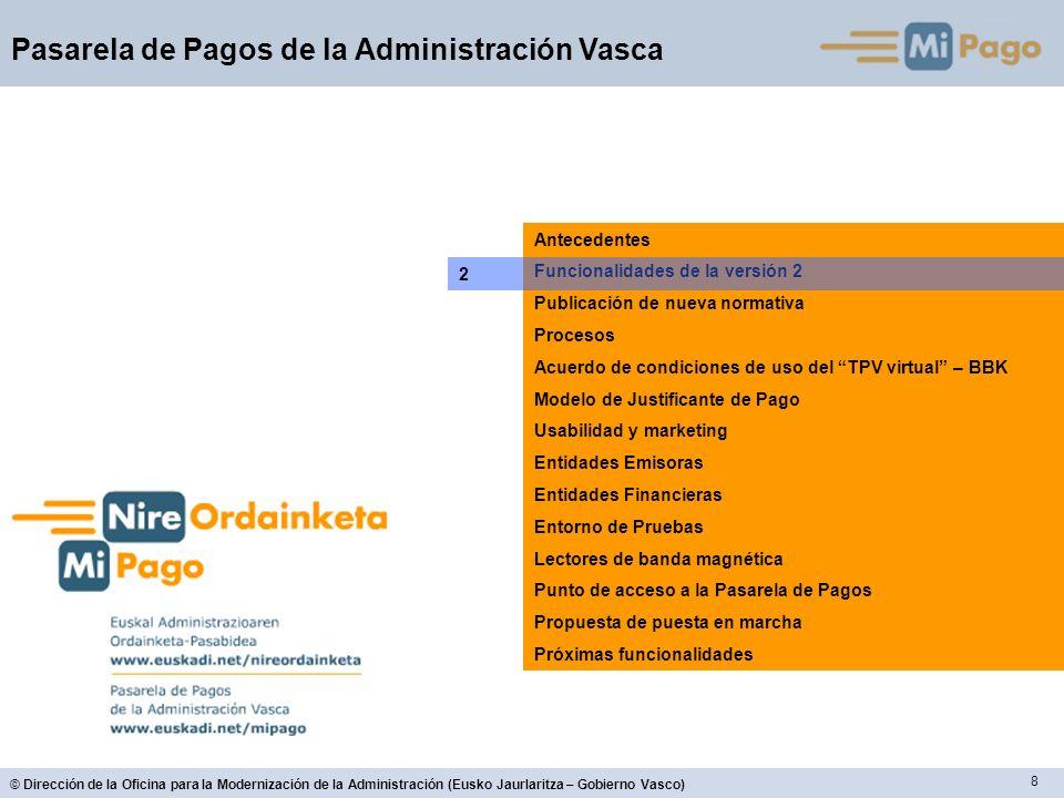 8 © Dirección de la Oficina para la Modernización de la Administración (Eusko Jaurlaritza – Gobierno Vasco) Pasarela de Pagos de la Administración Vas