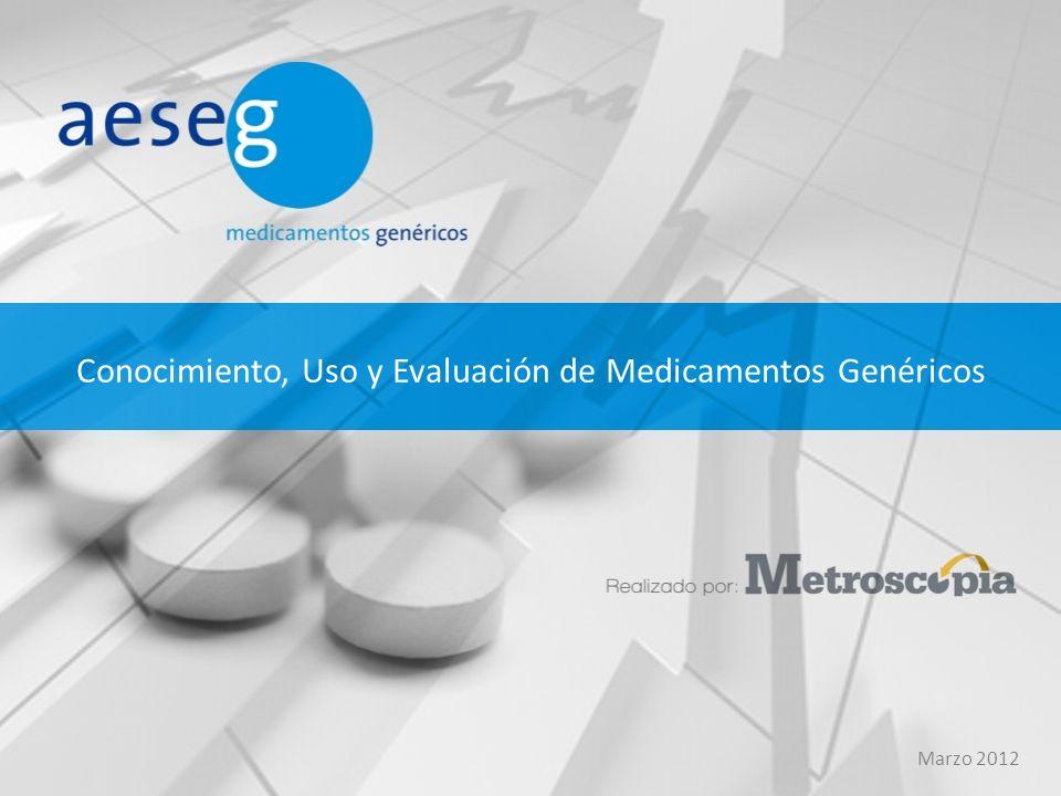 Conocimiento, Uso y Evaluación de Medicamentos Genéricos Marzo 2012