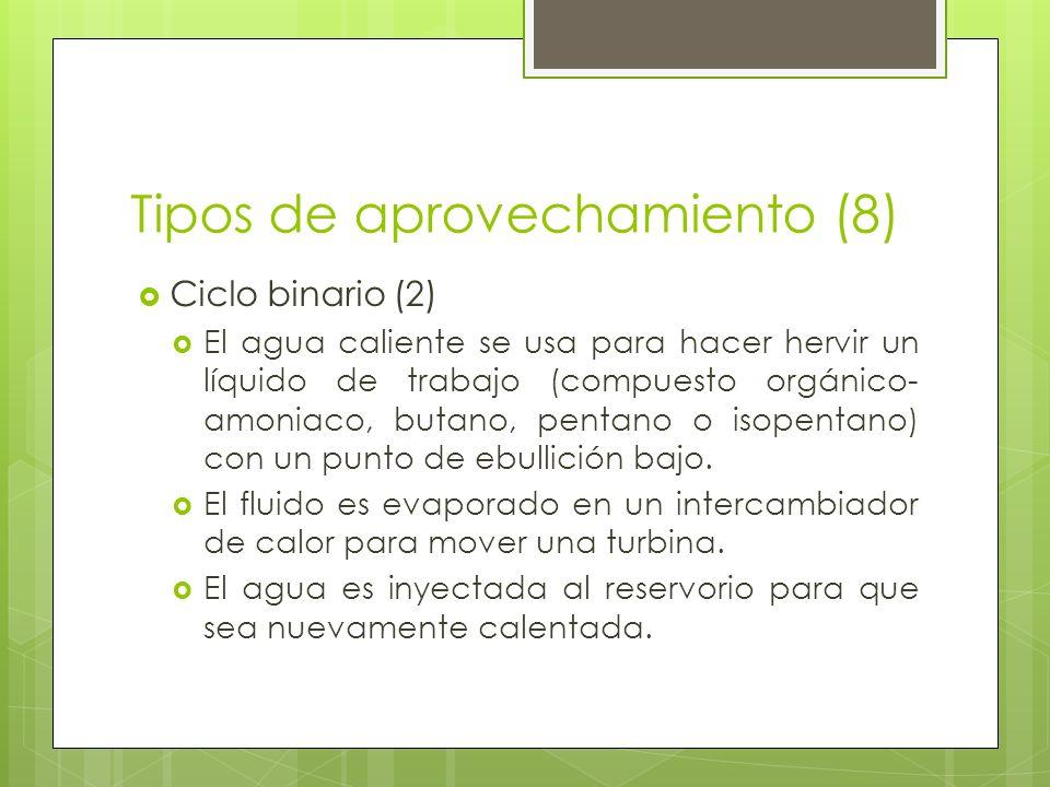 Tipos de aprovechamiento (8) Ciclo binario (2) El agua caliente se usa para hacer hervir un líquido de trabajo (compuesto orgánico- amoniaco, butano,