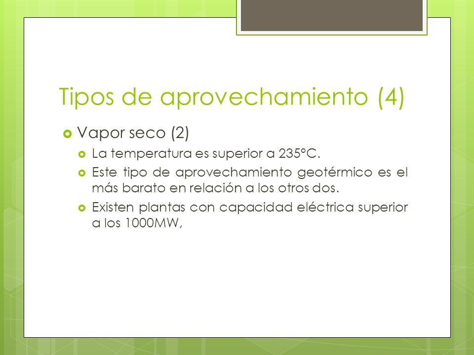 Tipos de aprovechamiento (4) Vapor seco (2) La temperatura es superior a 235°C. Este tipo de aprovechamiento geotérmico es el más barato en relación a