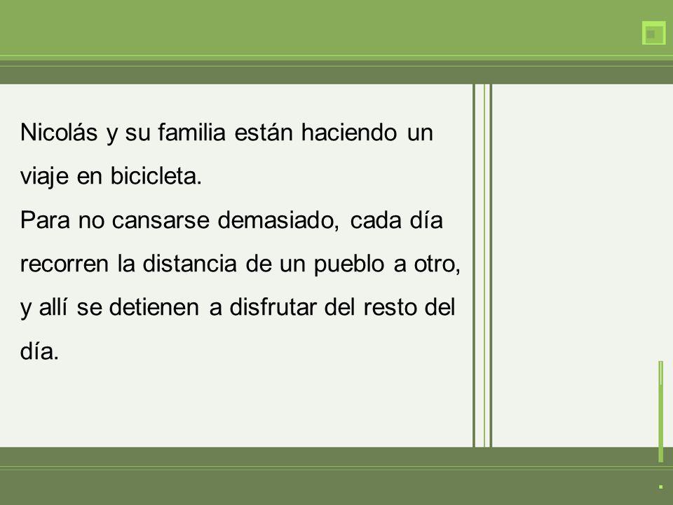 Nicolás y su familia están haciendo un viaje en bicicleta. Para no cansarse demasiado, cada día recorren la distancia de un pueblo a otro, y allí se d