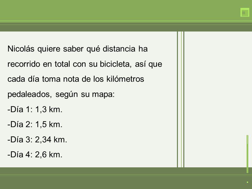 Nicolás quiere saber qué distancia ha recorrido en total con su bicicleta, así que cada día toma nota de los kilómetros pedaleados, según su mapa: -Día 1: 1,3 km.