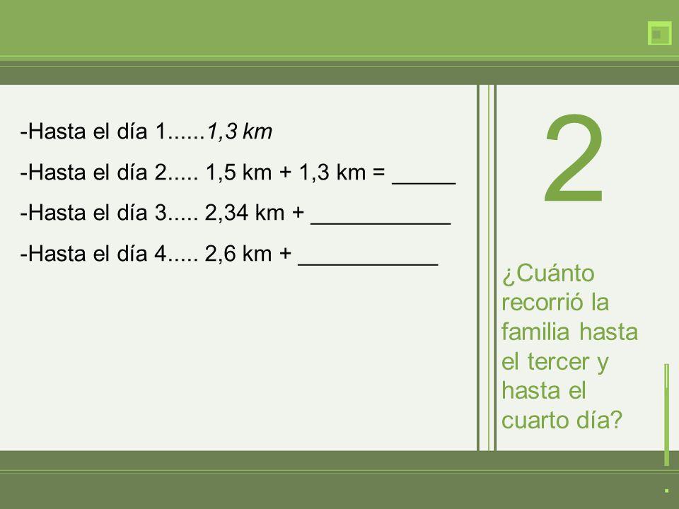 -Hasta el día 1......1,3 km -Hasta el día 2..... 1,5 km + 1,3 km = _____ -Hasta el día 3..... 2,34 km + ___________ -Hasta el día 4..... 2,6 km + ____