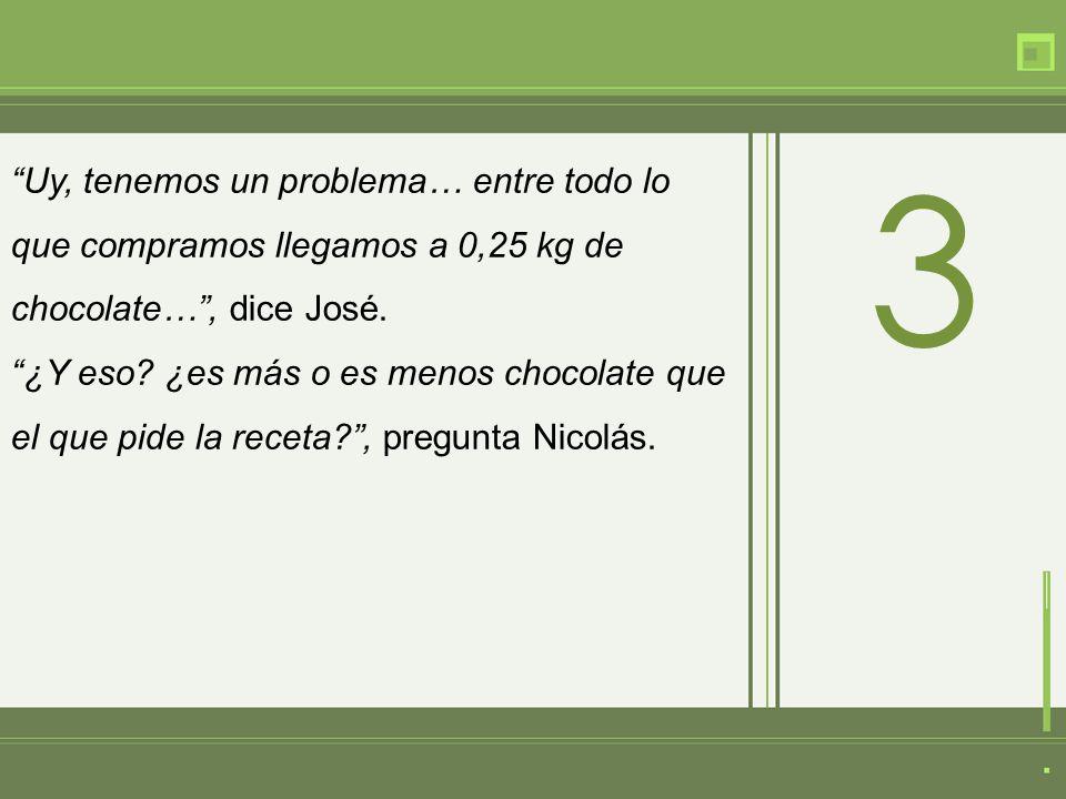 Uy, tenemos un problema… entre todo lo que compramos llegamos a 0,25 kg de chocolate…, dice José.