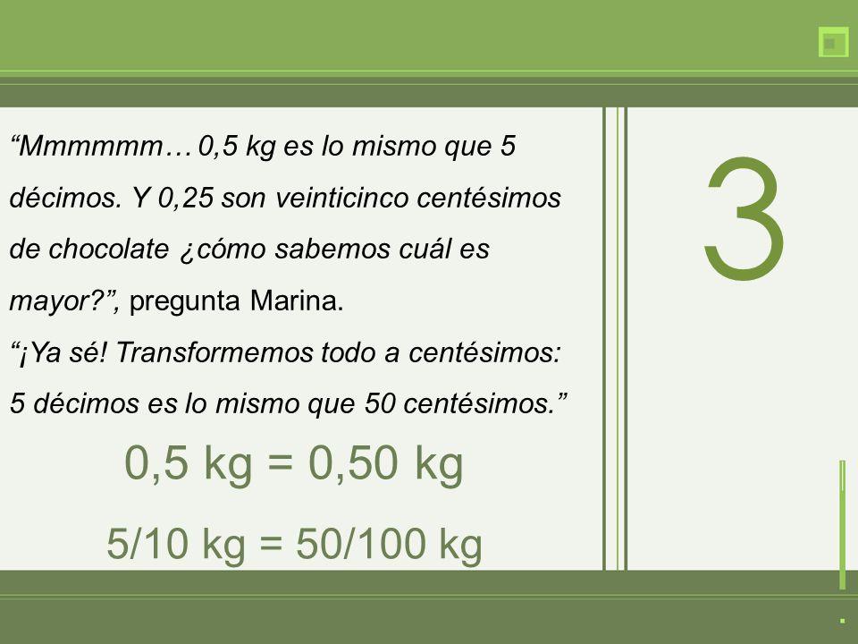 Mmmmmm… 0,5 kg es lo mismo que 5 décimos.