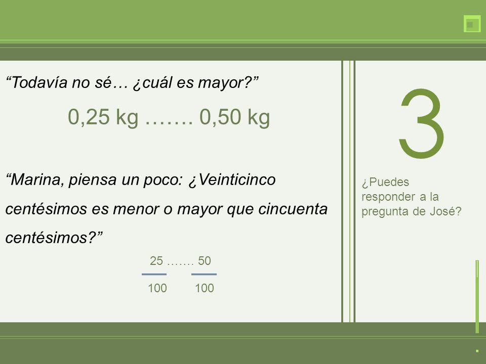 Todavía no sé… ¿cuál es mayor. 0,25 kg …….