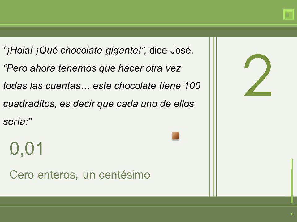 ¡Hola. ¡Qué chocolate gigante!, dice José.