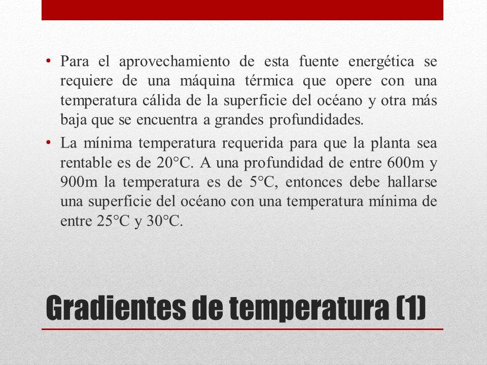Gradientes de temperatura (1) Para el aprovechamiento de esta fuente energética se requiere de una máquina térmica que opere con una temperatura cálida de la superficie del océano y otra más baja que se encuentra a grandes profundidades.