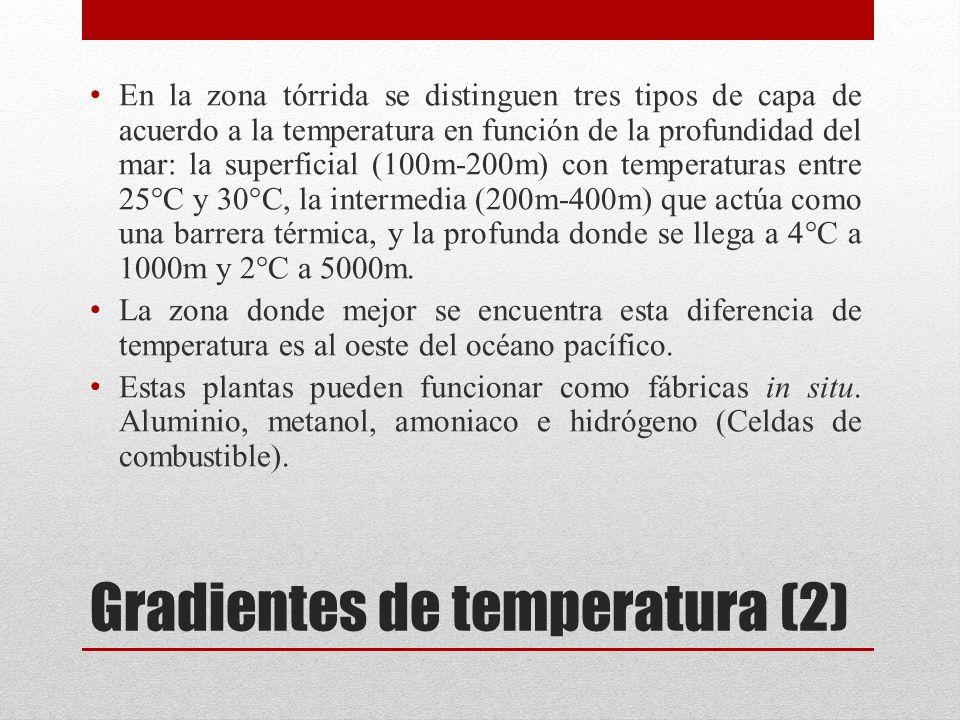 Gradientes de temperatura (2) En la zona tórrida se distinguen tres tipos de capa de acuerdo a la temperatura en función de la profundidad del mar: la superficial (100m-200m) con temperaturas entre 25°C y 30°C, la intermedia (200m-400m) que actúa como una barrera térmica, y la profunda donde se llega a 4°C a 1000m y 2°C a 5000m.