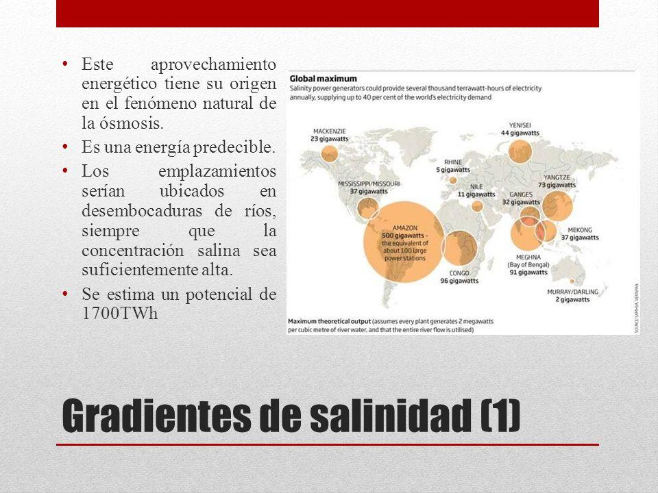 Gradientes de salinidad (1) Este aprovechamiento energético tiene su origen en el fenómeno natural de la ósmosis.