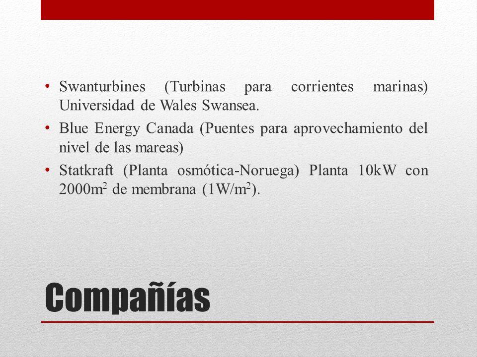Compañías Swanturbines (Turbinas para corrientes marinas) Universidad de Wales Swansea.