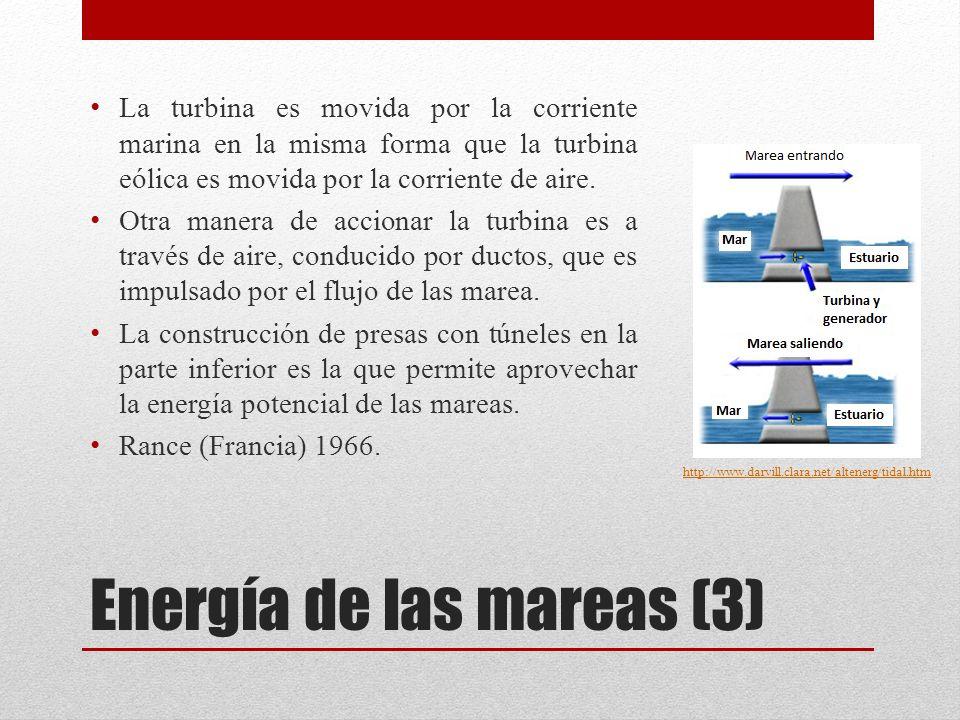 Energía de las mareas (3) La turbina es movida por la corriente marina en la misma forma que la turbina eólica es movida por la corriente de aire.