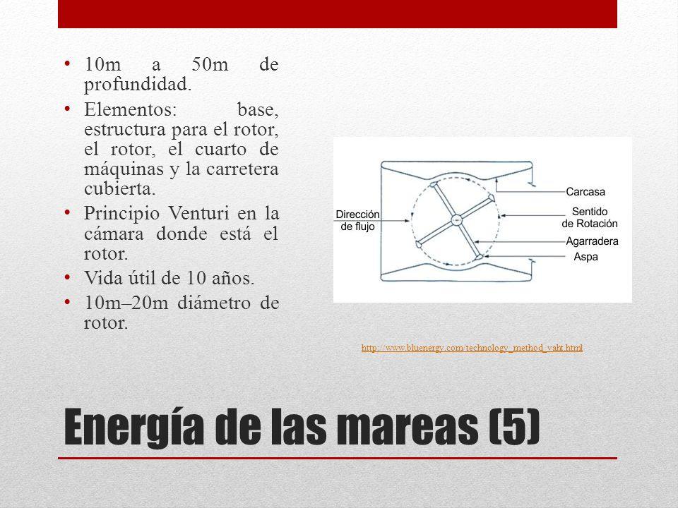 Energía de las mareas (5) http://www.bluenergy.com/technology_method_vaht.html 10m a 50m de profundidad.