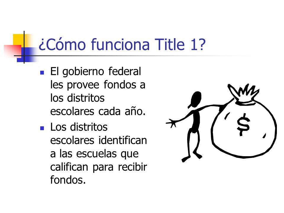 ¿Cómo funciona Title 1? El gobierno federal les provee fondos a los distritos escolares cada año. Los distritos escolares identifican a las escuelas q