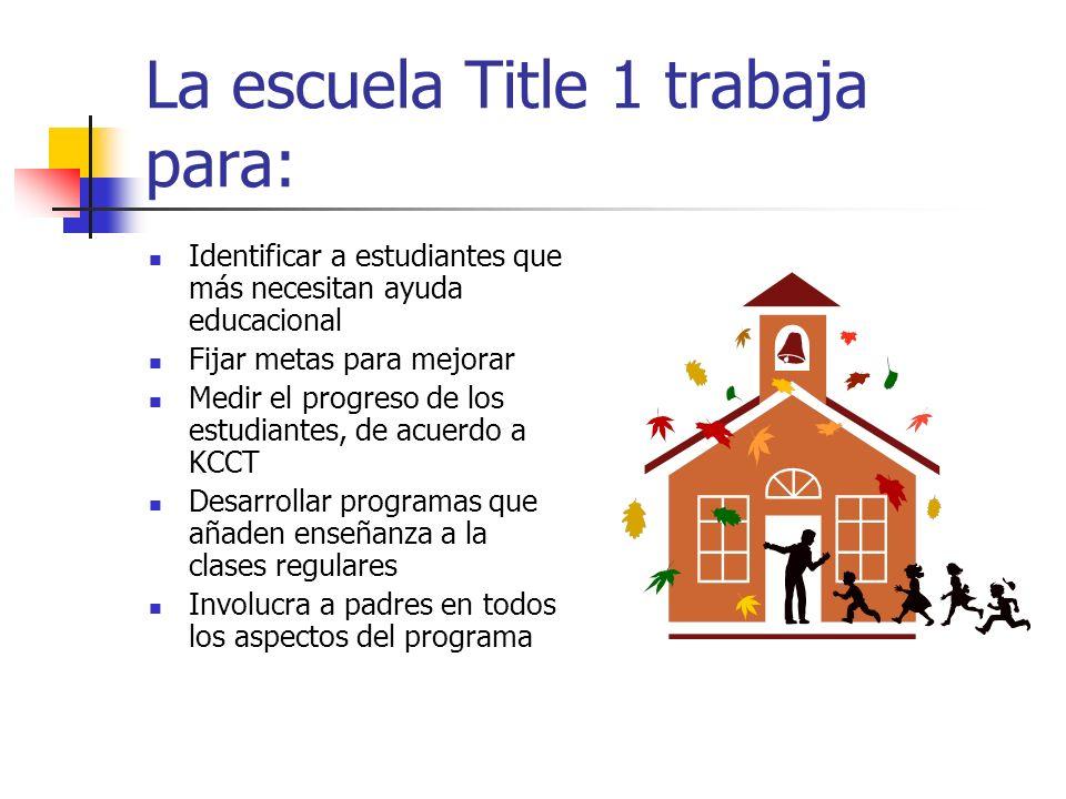 La escuela Title 1 trabaja para: Identificar a estudiantes que más necesitan ayuda educacional Fijar metas para mejorar Medir el progreso de los estud