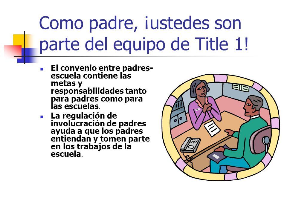 Como padre, ¡ustedes son parte del equipo de Title 1! El convenio entre padres- escuela contiene las metas y responsabilidades tanto para padres como