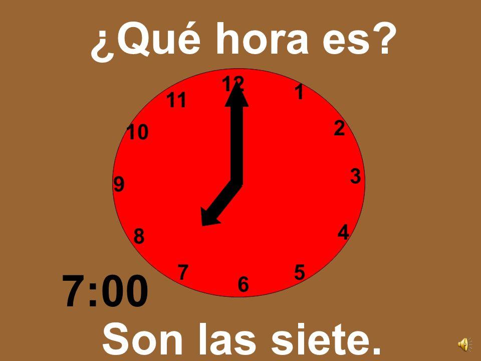 12 3 6 9 1 2 4 57 8 10 11 ¿Qué hora es? Son las seis. 6:00
