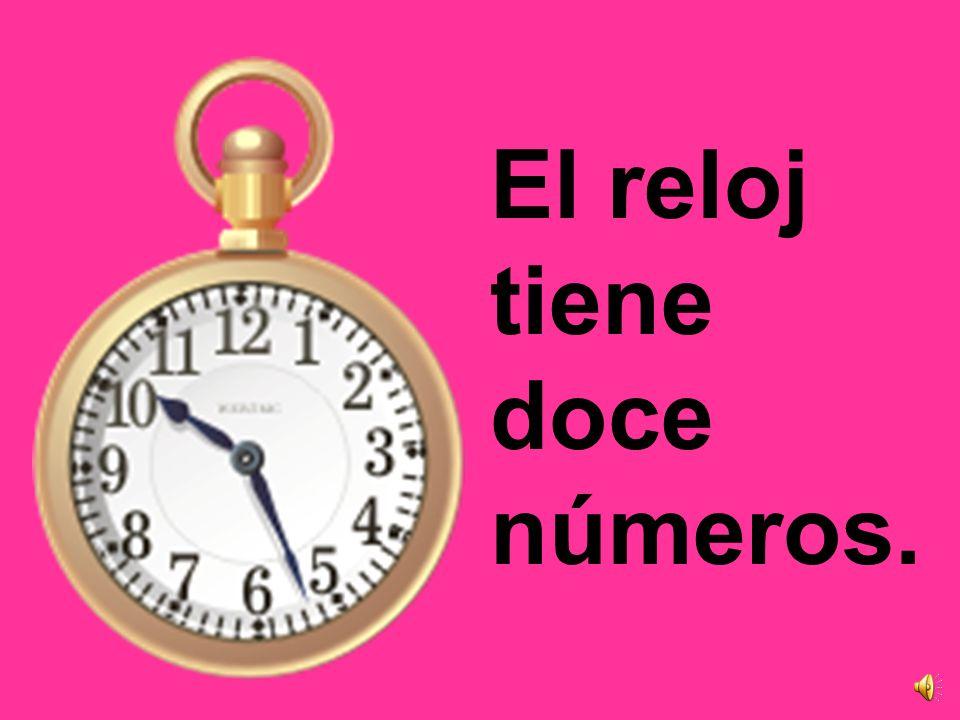 El reloj tiene 3 manos. La mano larga marca los minutos. La mano corta marca la hora. La mano flaca marca los segundos.