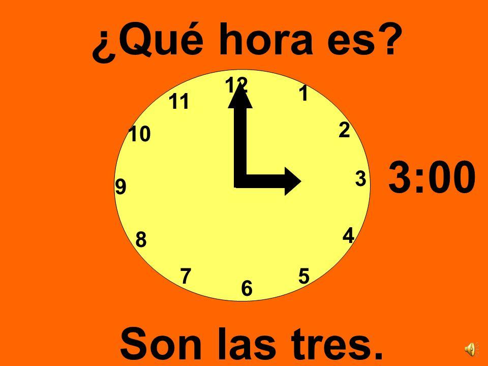 12 3 6 9 1 2 4 57 8 10 11 ¿Qué hora es? Son las dos. 2:00