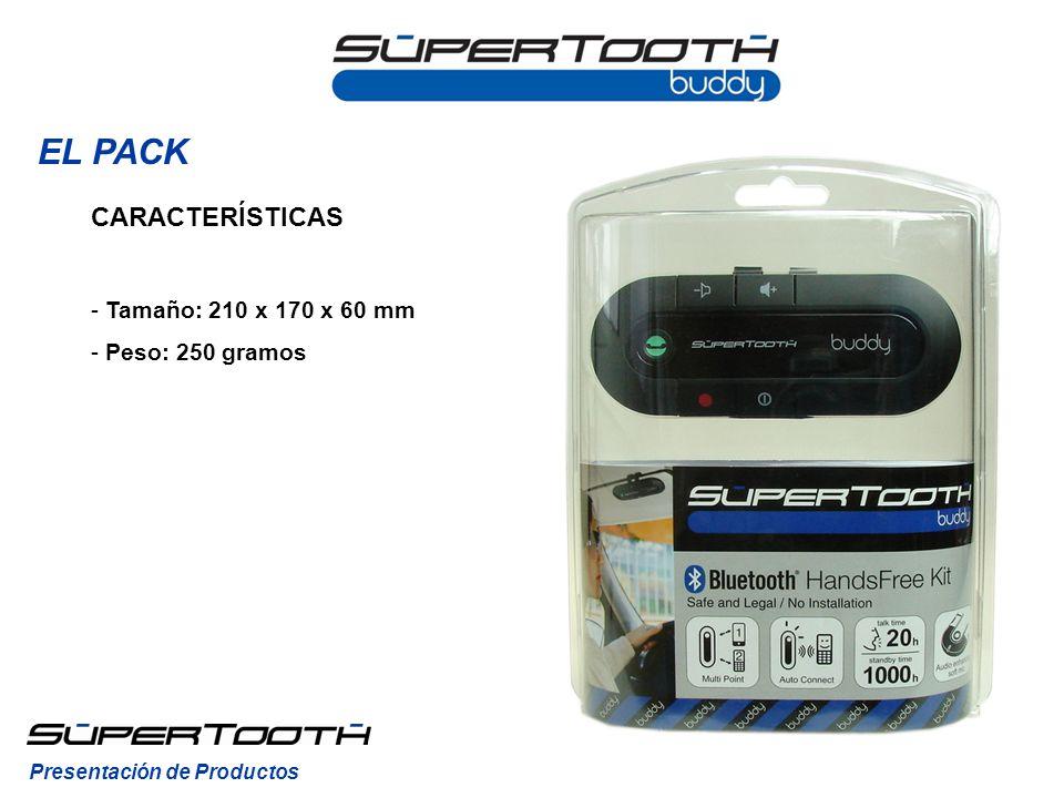 EL PACK CARACTERÍSTICAS - Tamaño: 210 x 170 x 60 mm - Peso: 250 gramos Presentación de Productos