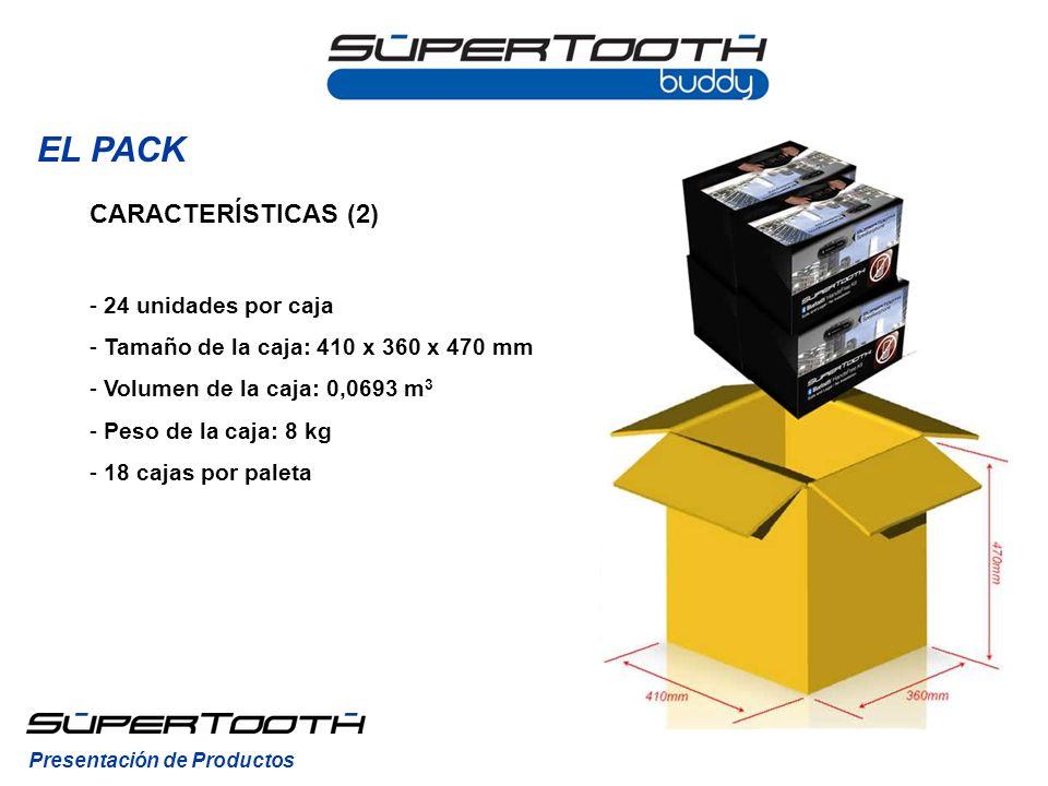 EL PACK CARACTERÍSTICAS (2) - 24 unidades por caja - Tamaño de la caja: 410 x 360 x 470 mm - Volumen de la caja: 0,0693 m 3 - Peso de la caja: 8 kg - 18 cajas por paleta Presentación de Productos