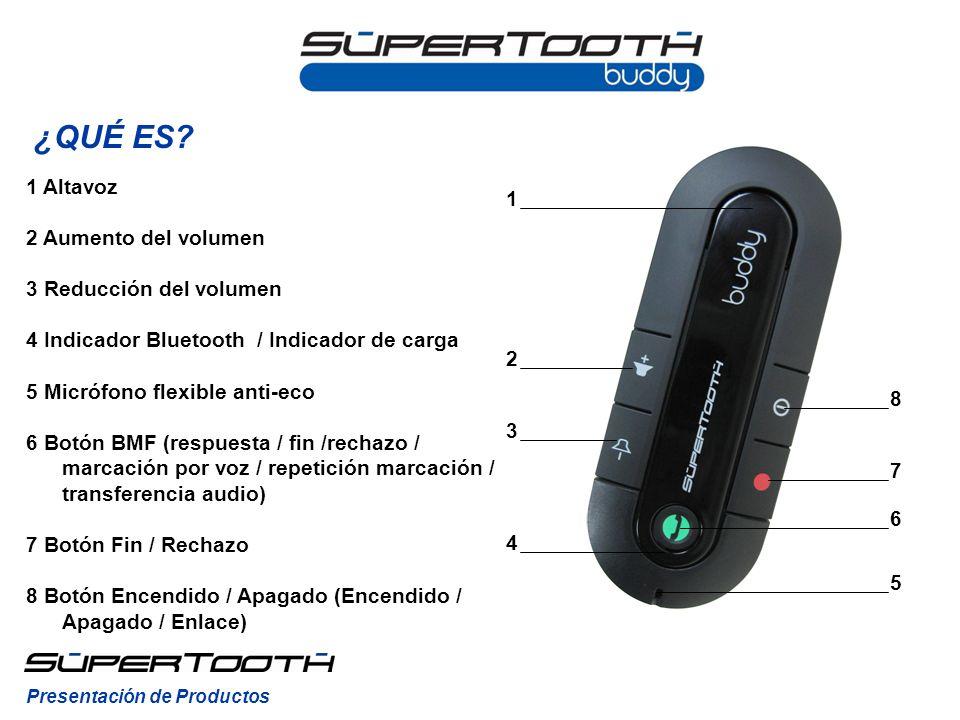 Para poner el SuperTooth Buddy en modo enlace manual, teniendo el kit apagado, mantenga pulsado el Botón Encendido / Apagado (8) hasta que el Indicador Bluetooth (4) parpadee rojo/azul.