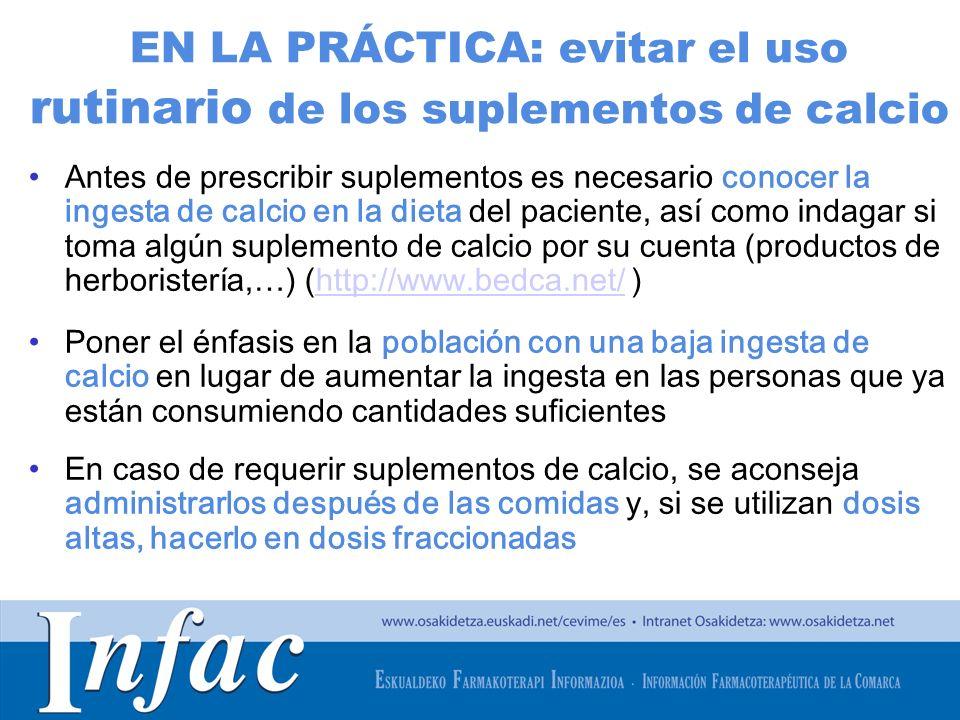 http://www.osakidetza.euskadi.net EN LA PRÁCTICA: evitar el uso rutinario de los suplementos de calcio Antes de prescribir suplementos es necesario co