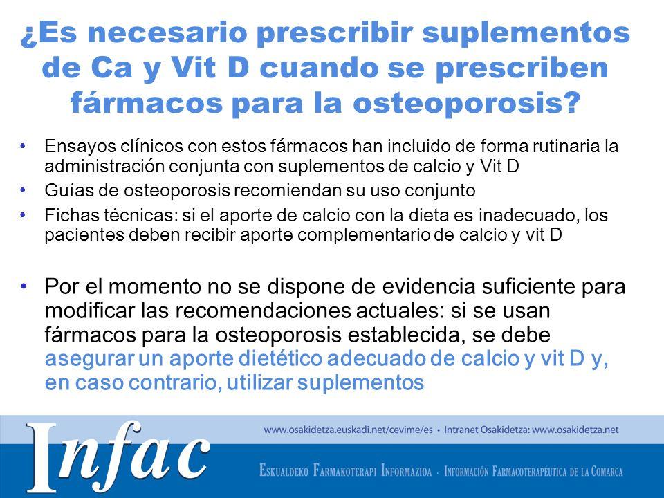 http://www.osakidetza.euskadi.net ¿Es necesario prescribir suplementos de Ca y Vit D cuando se prescriben fármacos para la osteoporosis? Ensayos clíni