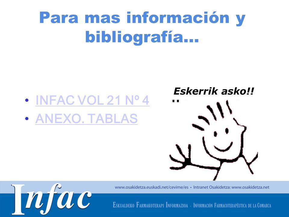 http://www.osakidetza.euskadi.net Para mas información y bibliografía… INFAC VOL 21 Nº 4 ANEXO. TABLAS Eskerrik asko!!