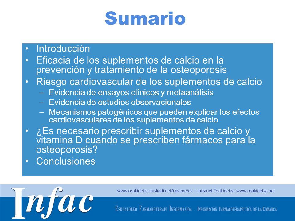 http://www.osakidetza.euskadi.net Sumario Introducción Eficacia de los suplementos de calcio en la prevención y tratamiento de la osteoporosis Riesgo