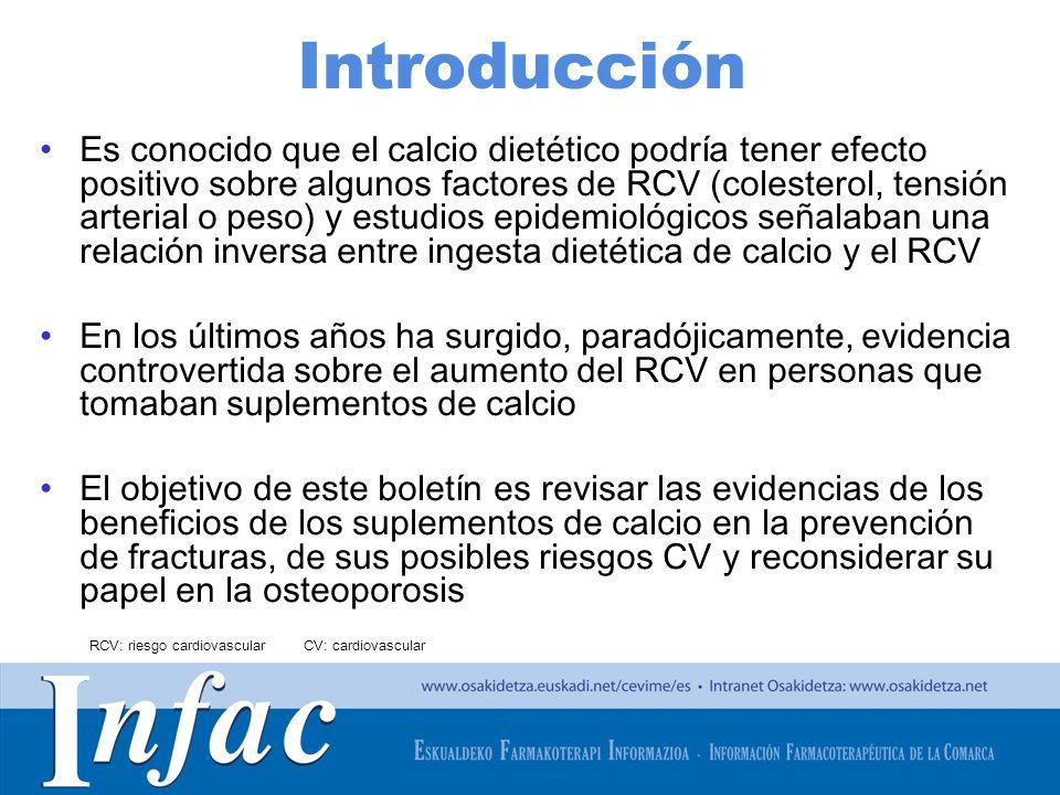 http://www.osakidetza.euskadi.net Introducción Es conocido que el calcio dietético podría tener efecto positivo sobre algunos factores de RCV (coleste