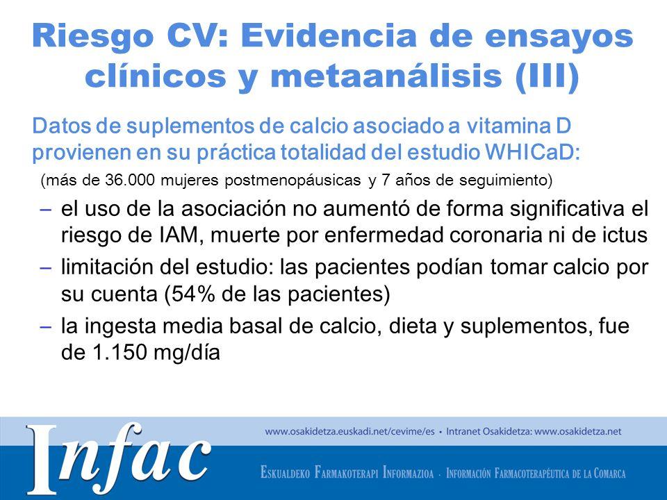 http://www.osakidetza.euskadi.net Riesgo CV: Evidencia de ensayos clínicos y metaanálisis (IV) Metaanálisis de 2011 (datos individuales de 5 ensayos de suplementos de calcio y pacientes del WHICaD sin uso personal de suplementos de calcio; 24.869 pacientes) –Mayor riesgo de IAM con suplementos de calcio y/o vit D –Tratar durante 5 años a 1000 pacientes con calcio o calcio más vit D causaría un exceso de 6 IAM o ictus y prevendría 3 fracturas Reanálisis del estudio WHICaD teniendo en cuenta el uso personal basal o no de suplementos de calcio –No se observó aumento en el riesgo de IAM, ictus, enfermedad cardiaca total o enfermedad CV con el uso de suplementos.