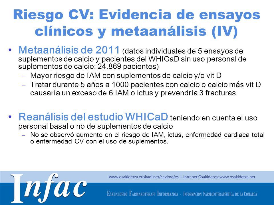 http://www.osakidetza.euskadi.net Riesgo CV: Evidencia de ensayos clínicos y metaanálisis (IV) Metaanálisis de 2011 (datos individuales de 5 ensayos d