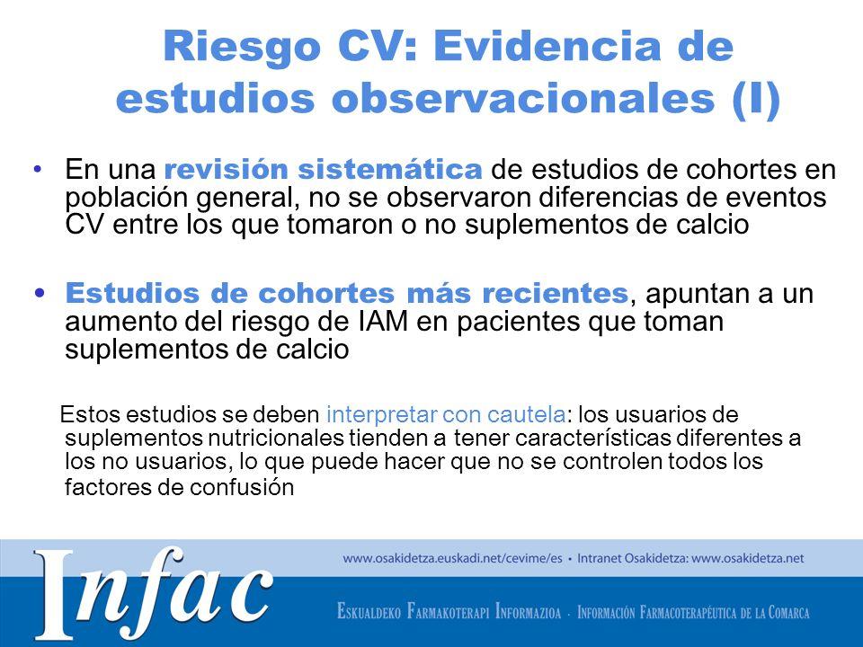 http://www.osakidetza.euskadi.net Riesgo CV: Evidencia de estudios observacionales (I) En una revisión sistemática de estudios de cohortes en població