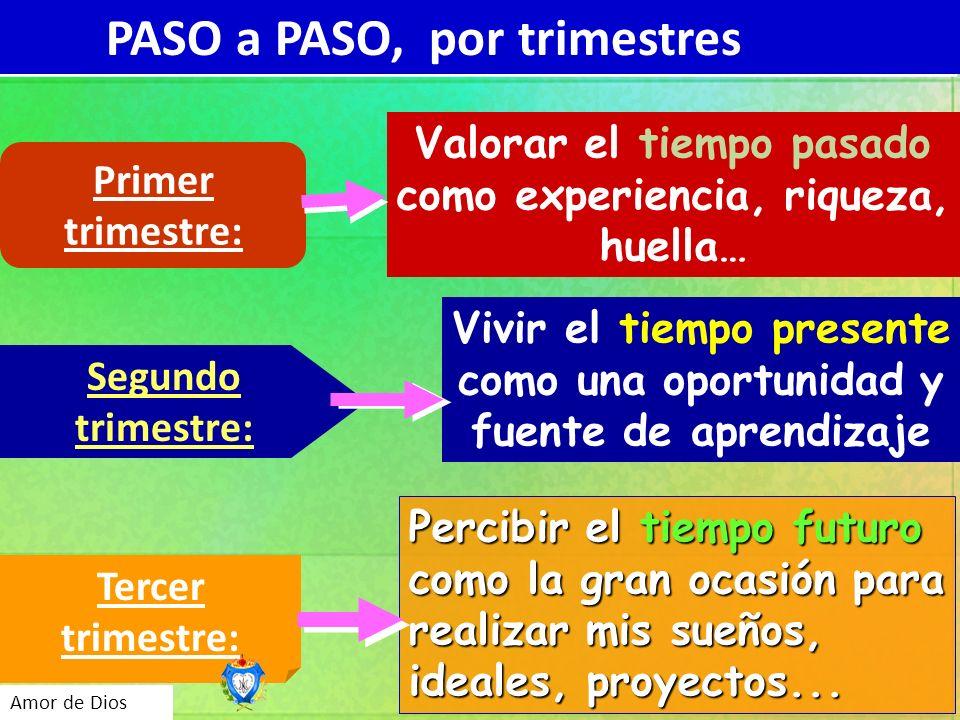 Curso 2010-2011 Amor de Dios PASO a PASO, por trimestres Primer trimestre: Valorar el tiempo pasado como experiencia, riqueza, huella… Segundo trimest
