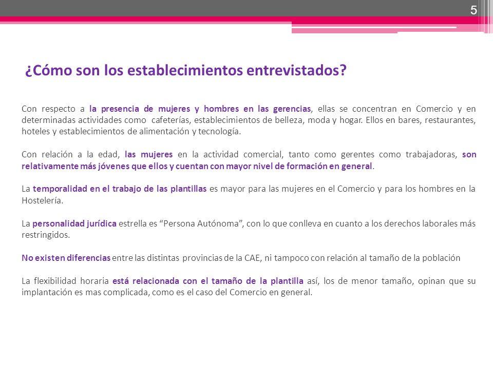 5 ¿Cómo son los establecimientos entrevistados? Con respecto a la presencia de mujeres y hombres en las gerencias, ellas se concentran en Comercio y e