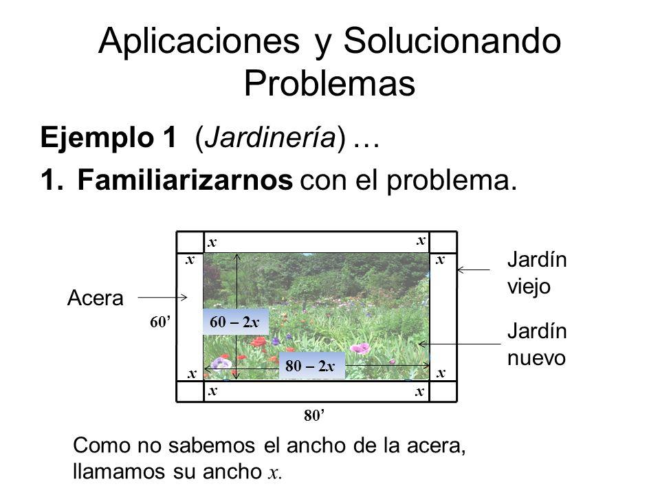 Aplicaciones y Solucionando Problemas Ejemplo 1 (Jardinería) … 1.Familiarizarnos con el problema. x x x x x x x x 60 80 Jardín viejo Jardín nuevo Acer