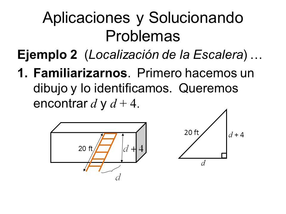 Aplicaciones y Solucionando Problemas Ejemplo 2 (Localización de la Escalera) … 1.Familiarizarnos. Primero hacemos un dibujo y lo identificamos. Quere
