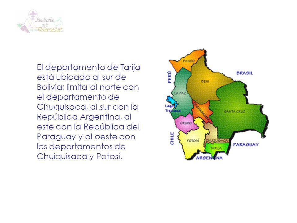 El departamento de Tarija está ubicado al sur de Bolivia; limita al norte con el departamento de Chuquisaca, al sur con la República Argentina, al est