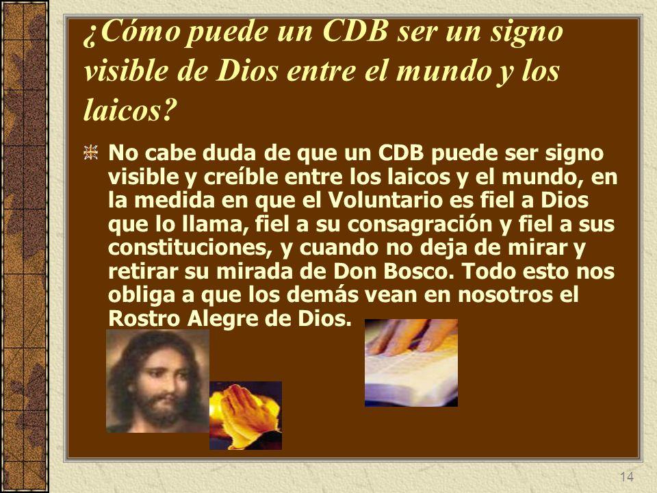 14 ¿Cómo puede un CDB ser un signo visible de Dios entre el mundo y los laicos? No cabe duda de que un CDB puede ser signo visible y creíble entre los