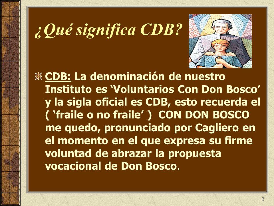 3 ¿Qué significa CDB? CDB: La denominación de nuestro Instituto es Voluntarios Con Don Bosco y la sigla oficial es CDB, esto recuerda el ( fraile o no