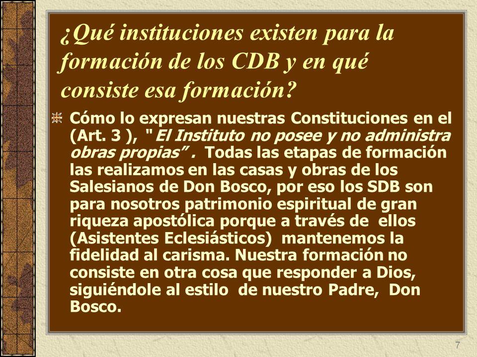 7 ¿Qué instituciones existen para la formación de los CDB y en qué consiste esa formación? Cómo lo expresan nuestras Constituciones en el (Art. 3 ), E