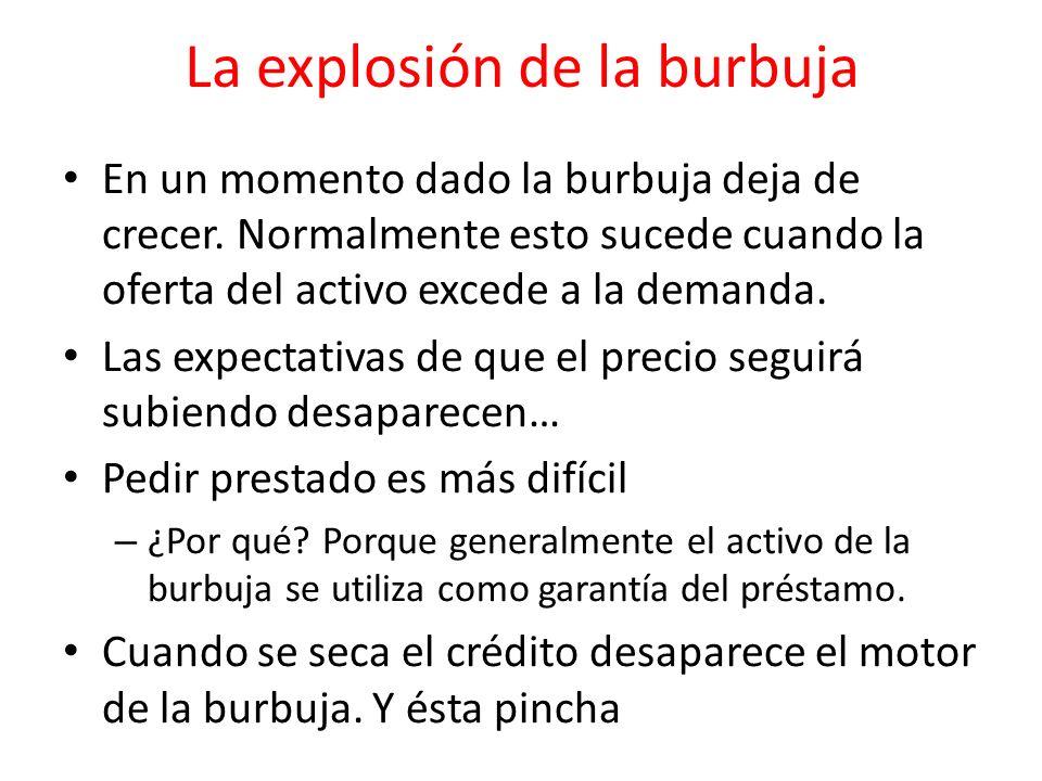La explosión de la burbuja En un momento dado la burbuja deja de crecer. Normalmente esto sucede cuando la oferta del activo excede a la demanda. Las