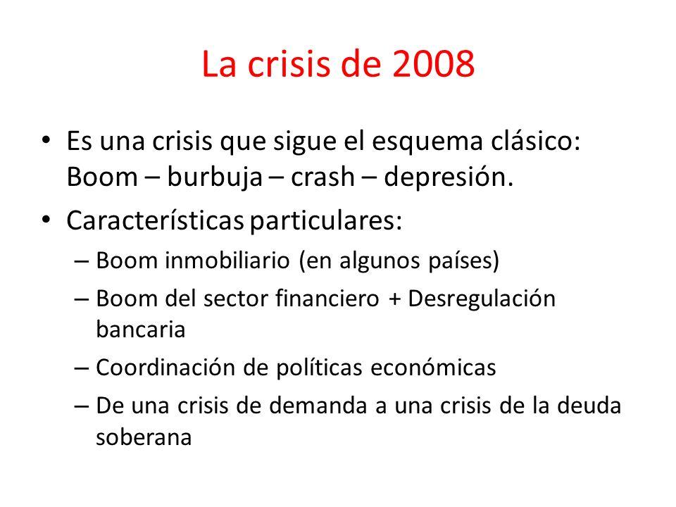 La crisis de 2008 Es una crisis que sigue el esquema clásico: Boom – burbuja – crash – depresión. Características particulares: – Boom inmobiliario (e